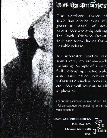 Dark Age Productions old flier dungeon synth dark ambient black metal
