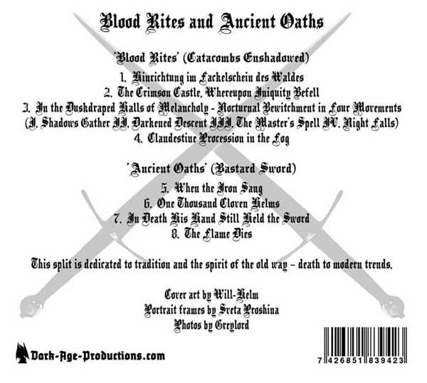 Catacombs Enshadowed / Bastard Sword split CD back cover dungeon synth black metal
