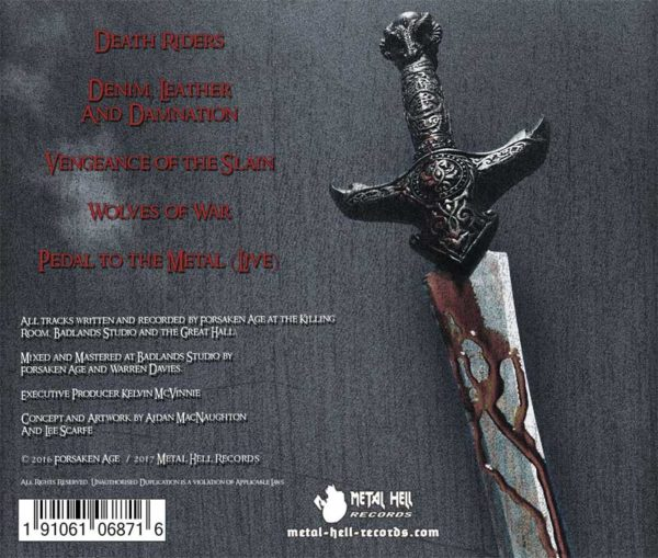 Forsaken Age Vengeance CD Back Cover heavy metal